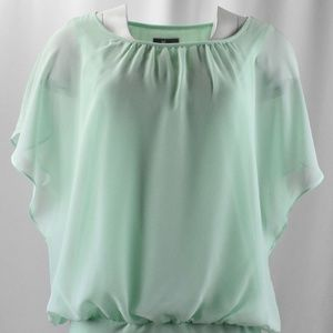 ! Classic Mint Flutter Sleeve Top w/ Banded Hem !